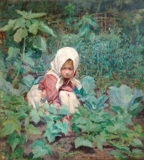 A Girl Picking Up Cucumbers Emily Shanks