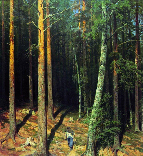 A Painting of a pine forest with figure, by Ivan Shishkin