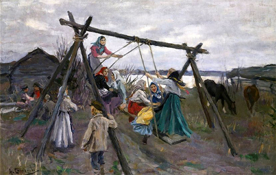 A Painting of Russian Children Swinging, date unknown, Alexi Stepanov