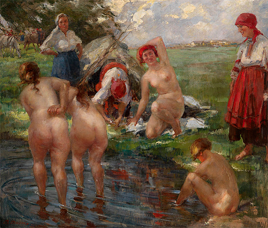 A Painting of Russian Bathers by Vitaly Tikhov