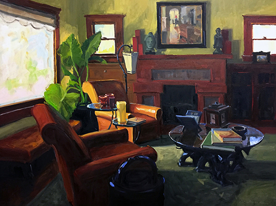 "Oil Painting of an Interior - The Comfy Chair, 36 x 48"", Oil, © Greg LaRock"