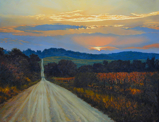 oil painting of country road at sunset © J. Hulsey
