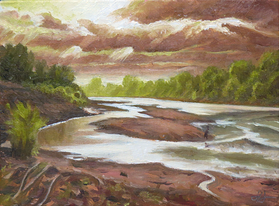 Oil painting of river, Rose River study, 5 x 7 inches, oil, © J. Hulsey