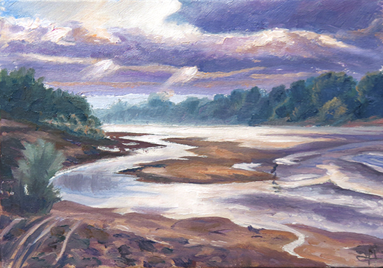Oil painting of river, Red Violet River study, 5 x 7 inches, oil, © J. Hulsey