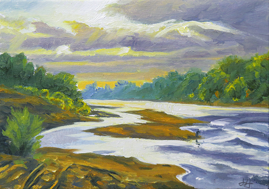 Oil painting river study, © J. Hulsey