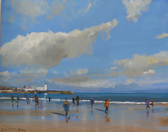Oil Painting of the Beach - Scarborough © Malcolm Ludvigsen