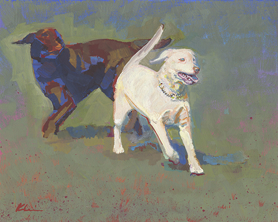 "Fetching Labs, 8 x 10"", Casein on Board, © Mary Nagel Klein"