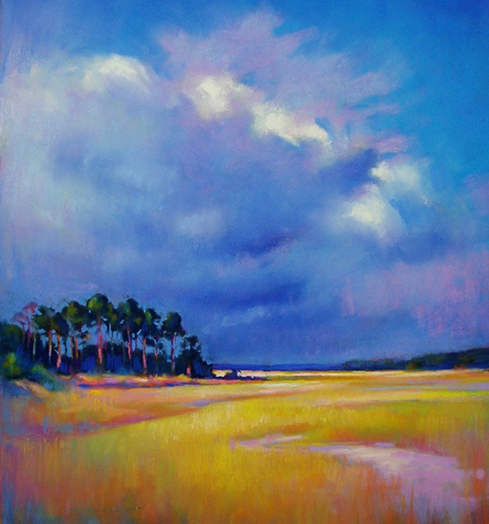 Clouds Over Tidal Flats, Pastel, © Susan Mayfield