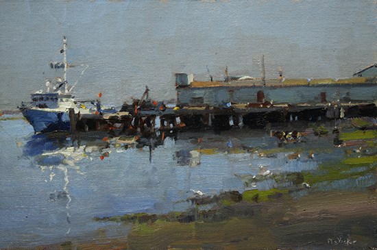 Oil Painting of boats and dock by Jim Mc Vicker