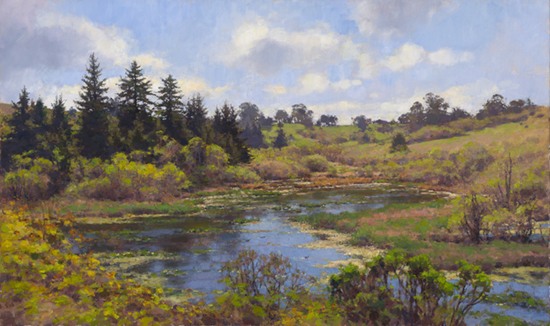 Oil landscape painting of pond by Jim McVicker