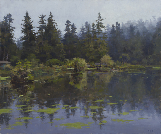 oil painting of foggy pond