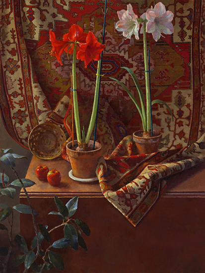 Oil painting of Amaryllis in still life by Jim McVicker