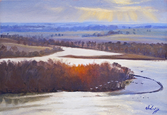 Above the Mississippi at Principia, oil by John Hulsey