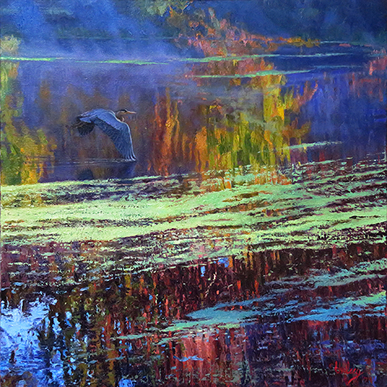 "Morning on the Pond I, 36 x 36"", Oil, © John Hulsey"