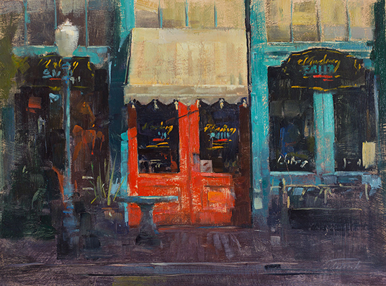 "Mustang Sally's, 16 x 20"", oil on panel © Patrick Saunders"