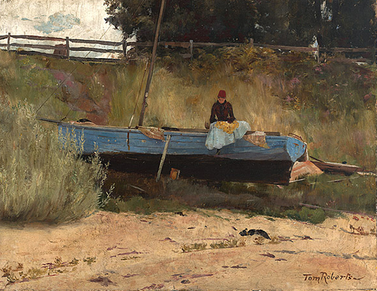 plein air oil  painting of boat on beach
