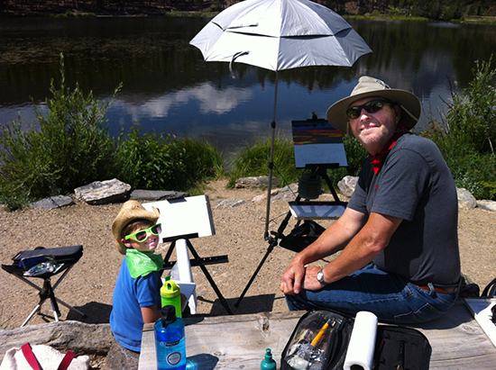Two Artists Working en Plein Air