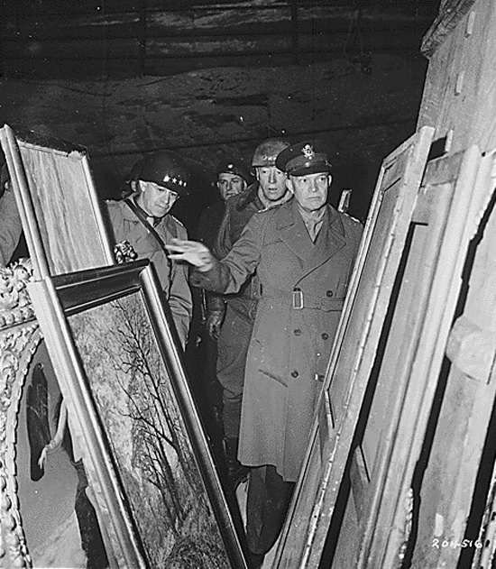 Photo of Eisenhower, Bradley and Patton Inspecting Stolen Artwork