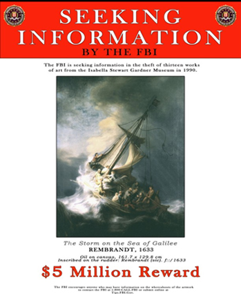 FBI Poster for Stolen Gardner Museum Paintings