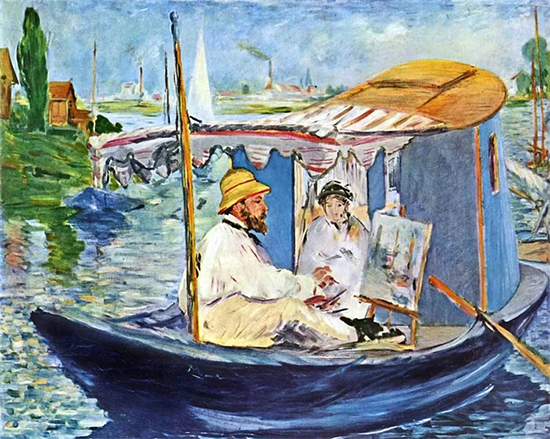 Monet Painting in His Studio Boat, 1874, Edouard Manet