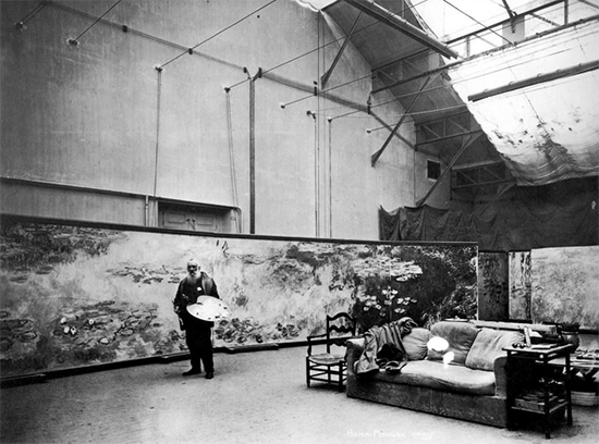Claude Monet in His Studio ca. 1920 with Nymphaea Panels