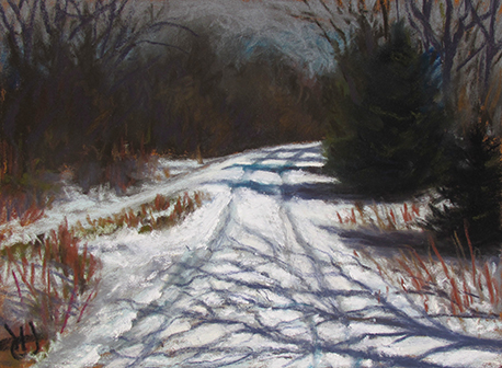 pastel painting of snowy winter road at night, by John Hulsey