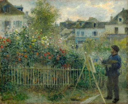 Claude Monet Painting in his Garden at Argenteuil by Pierre Auguste Renoir