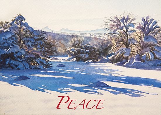snowy landscape watercolor  by John Hulsey