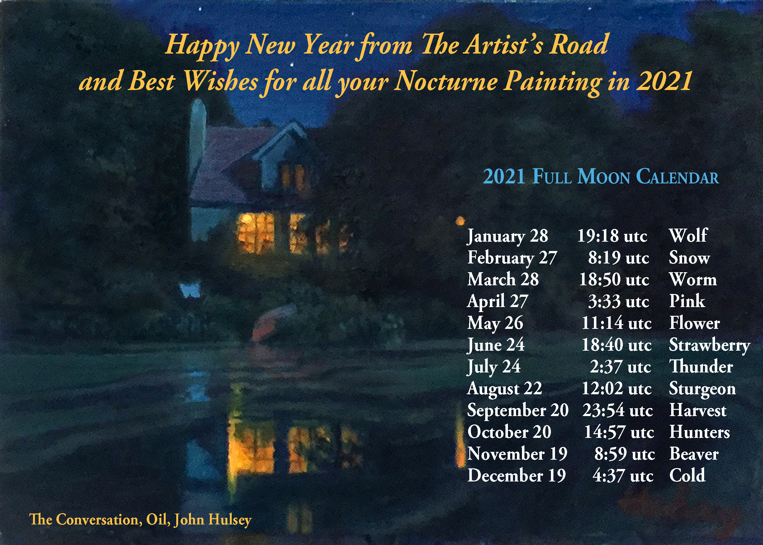 The Artist's Road 2021 New Year Nocturne Full Moon Calendar