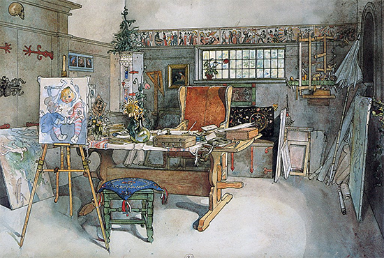 The Studio Watercolor by Carl Larsson