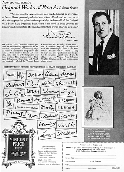 Flyer Announcing the Vincent Price Art Collection at Sears