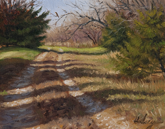 oil painting of country road by John Hulsey