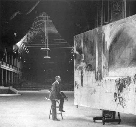 Photo of Tom Roberts painting The Big Picture