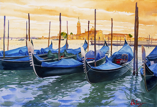 watercolor painting of gondolas on the Grand Canal in Venice, by John Hulsey
