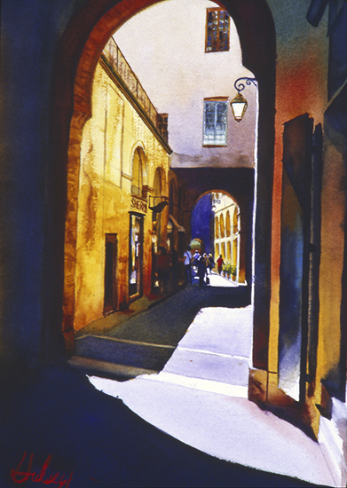 Watercolor, he Alley, Aix. © John Hulsey