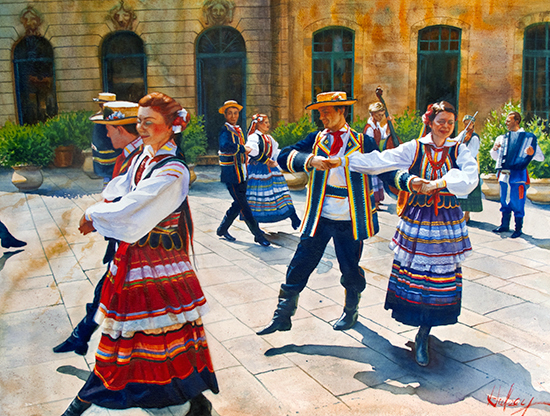 Watercolor painting of Polish dancers in Aix, France. © by John Hulsey