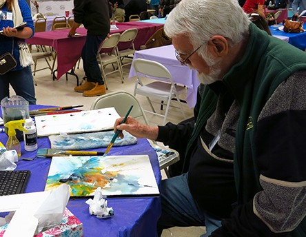 photo of Mort Solberg painting