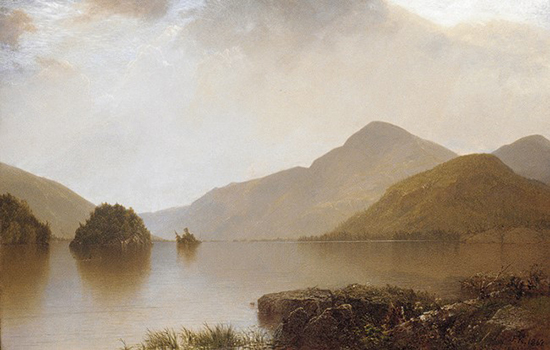 oil painting of mountain lake by John Frederick Kensett