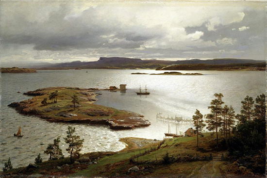 oil painting of ships on a bay with clouds and sun by Hans Fredrick Gude