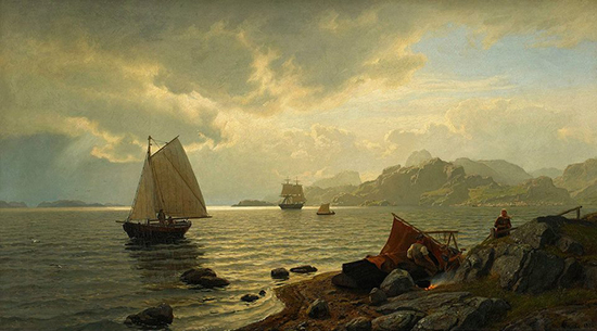 oil painting of ships on a fjord in scandinavia, by Hans Frederick Gude