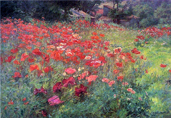 oil painting of a poppy field by John Ottis Adams