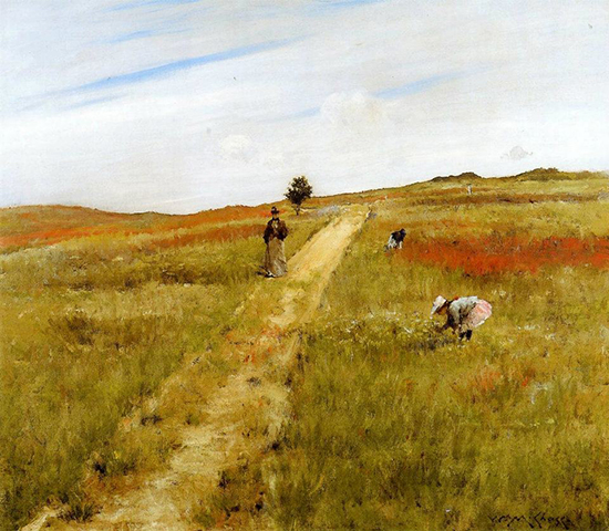 oil painting of woman strolling in the Shinnecock Hills of Long Island, byWilliam Merritt Chase