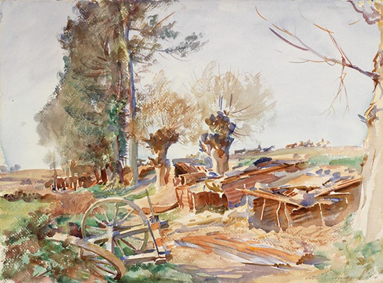 watercolor painting of a military camp by Sargent.