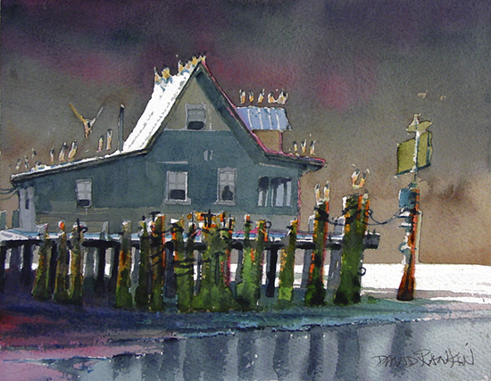 watercolor of house on a pier with sea gulls, by David Rankin