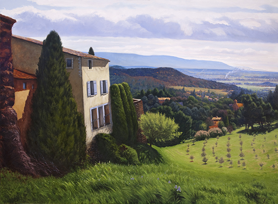 Oil painting, Early Spring, Roussillon, 54 x 72 inches, © John Hulsey