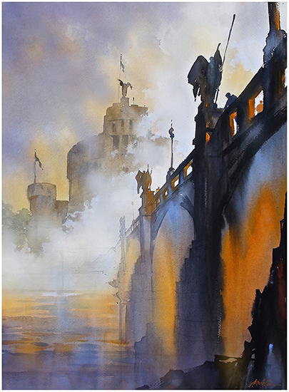 "Fog on the Tiber - Rome, 30 x 22"", WC, © Thomas Schaller"