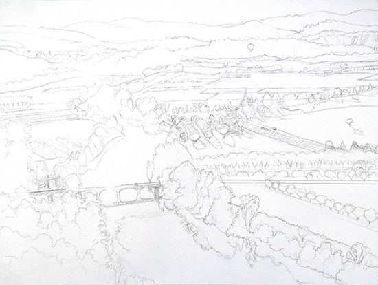 Drawing of the Dordogne River in France by John Hulsey