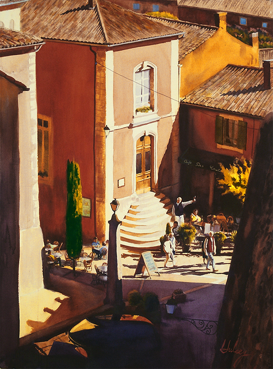 Watercolor of Rousillon, France, by John Hulsey