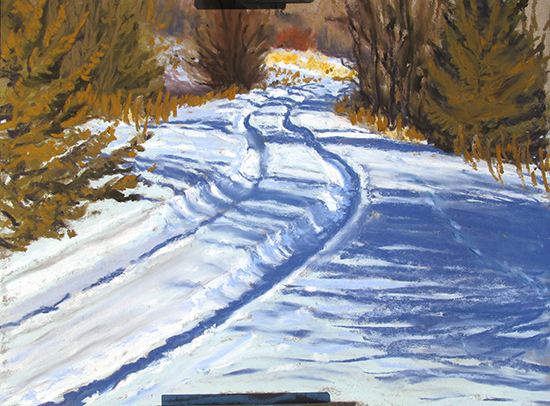 pastel painting plein air of snowy country road, by John Hulsey