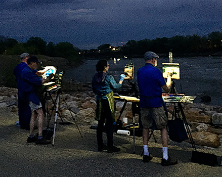 artists painting the Kaw river at night © A. Trusty